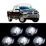 CCIYU 5x Smoke Top Cab Roof Running Light Marker Lens+5x 6-5730SMD HID White Led Light For 1988-2000 Chevrolet C2500 C3500 K1500 K2500 C1500 K3500 1988-2000 GMC C1500 C2500 C3500 K1500 K2500 K3500 etc