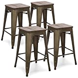 Best Choice Products 24in Set of 4 Stackable Industrial Distressed Metal Counter Height Bar Stools w/Wood Seat – Copper Review