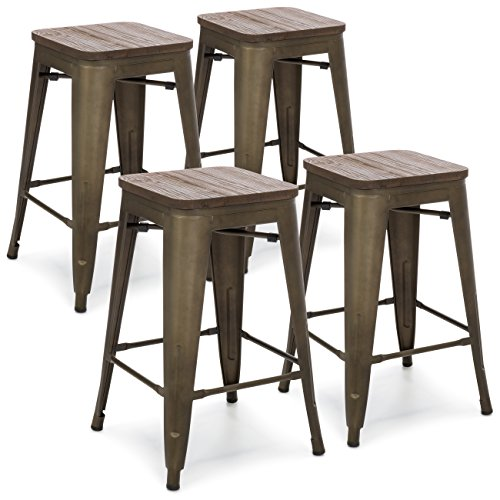 Best Choice Products 24in Set of 4 Stackable Industrial Distressed Metal Counter Height Bar Stools w/Wood Seat - Copper (Wood Bar Metal Stools)