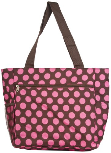 X Large Brown and Pink Polka Dot Travel Tote Bag, Bags Central