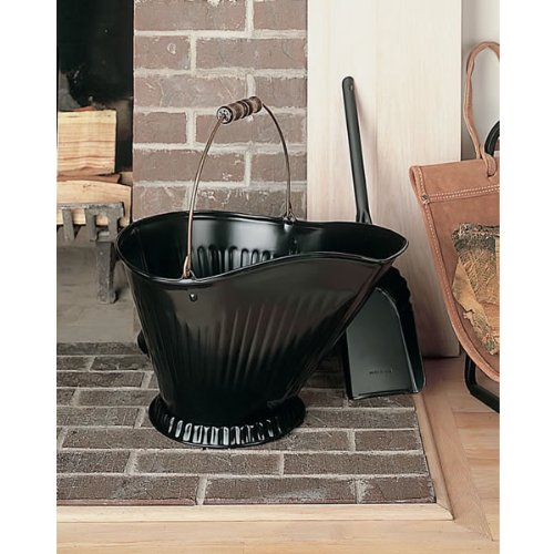 Woodfield 73140 Black Coal Hod & Shovel with Brass Bail and Wooden Handle by Imperial Manufacturing (Brass Coal Hod)