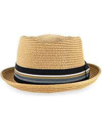 2ee2a03472615 Men Women Woven Straw Trilby Summer Fedora Hat in Ivory