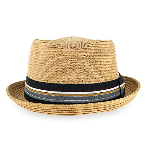Belfry Men/Women Summer Straw Pork Pie Trilby Fedora Hat in Blue, Tan, Black (Large, Tan) Stripe Straw Hat