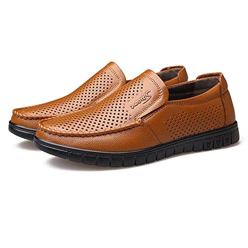 de Masculinos Suave Cuero Hombres conduccion de 2018 Mocasin TOOGOO Cuero Mocasines de Zapato Amarillo Zapatos Primavera Transpirable los de Plano Amarillo 38 la Agujeros Ocasionales Con Genuino de fvxYxz