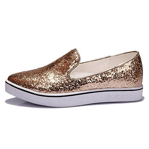 Mujer Dorado Para De 1to9 Zapatos Vestir AqwxXAInt