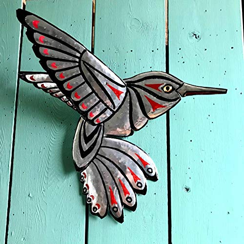 (CUSTOM for you - Hummingbird Spirit - aluminum metal bird tribal wall sculpture - Pacific Northwest Coast Indian inspired - black blue or red )