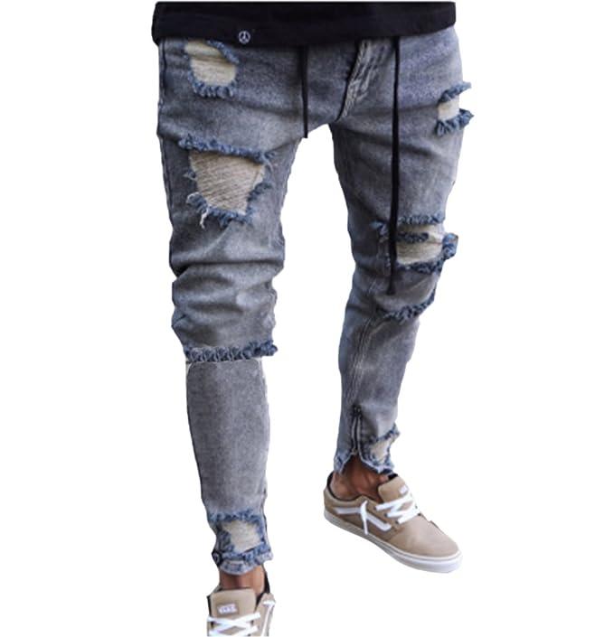 Keephen Pantalones Vaqueros de los Hombres Rasgados Slim Fit ...