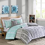 Intelligent Design Adel Teen Girls Duvet Cover Set Full/Queen Size - Aqua, Light Grey, Grey, Geometric Chevron – 5 Piece Duvet Covers Bedding Sets – Ultra Soft Microfiber Girls Bedding Bed Sets