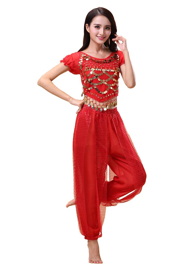 Grouptap Bollywood indian plus size bharatanatyam belly dance womens girls 2-piece costume dress red//blue//yellow kuchipudi outfit set