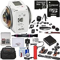 KODAK PIXPRO ORBIT360 VR 4K HD Wi-Fi Video Action Camera Camcorder - Satellite Pack + 64GB Card + Battery + Case + Helmet Mounts + Power Hand Grip + Tripod Kit