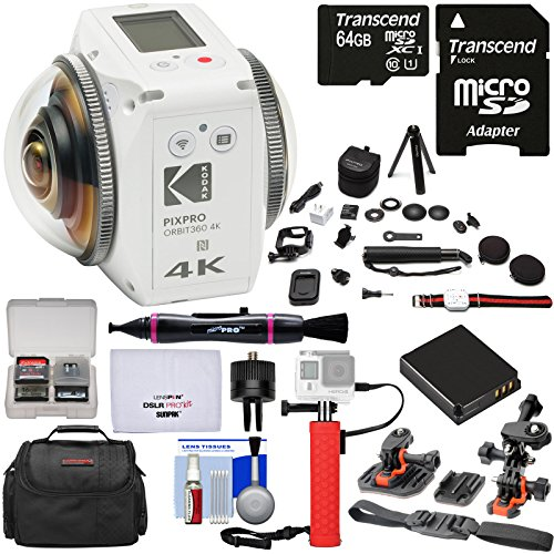 KODAK PIXPRO ORBIT360 VR 4K HD Wi-Fi Video Action Camera Camcorder - Satellite Pack + 64GB Card + Battery + Case + Helmet Mounts + Power Hand Grip + Tripod Kit