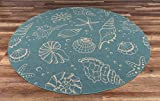 "coastal living rooms GAD Premium Indoor Outdoor Contemporary Ocean Marine Life Area Rug (6'7"" Round) Teal & Beige Coastal Sea Shell Rug - Stain & Fade Resistant Rug for The Living Room, Patio, Porch, Deck, Lanai"