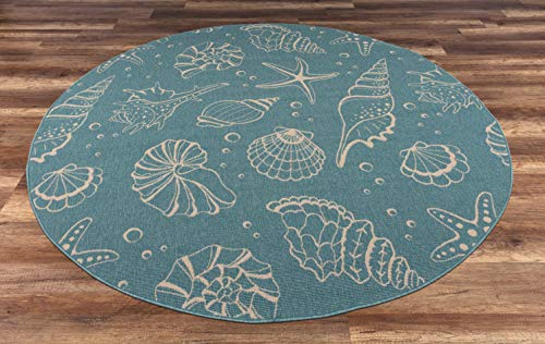 "GAD Premium Indoor Outdoor Contemporary Ocean Marine Life Area Rug (6'7"" Round) Teal & Beige Coastal Sea Shell Rug - Stain & Fade Resistant Rug for The Living Room, Patio, Porch, Deck, Lanai"