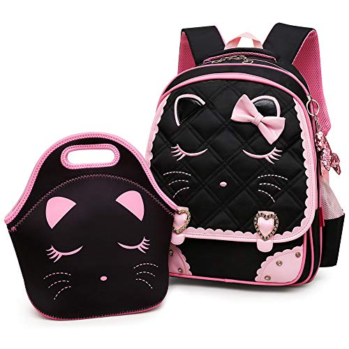 Efree Cute Cat Face Bow Diamond Bling Waterproof Pink School Backpack Girls Book Bag (Medium, Black Set)