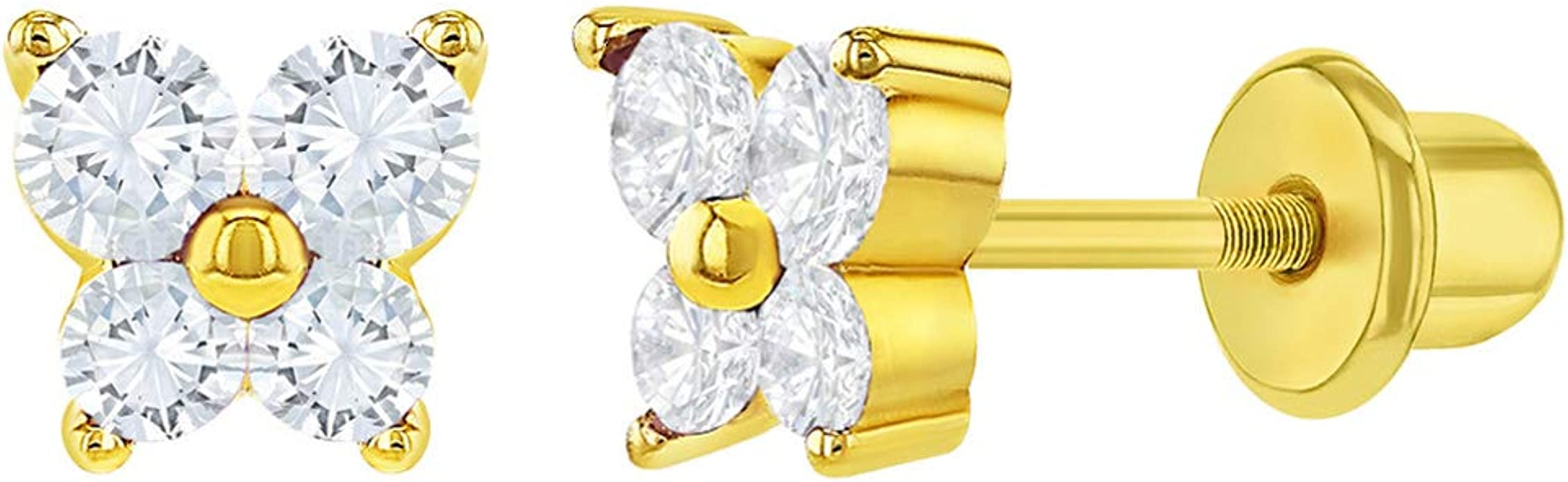Star Shaped 18k Solid Gold Butterfly Backs Stud Earrings for Infants Toddlers