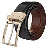 32-36 inch Handmade Genuine Leather Reversible Adjustable Belt Gift for Men Teen Boy ~ Everyday Office College School ~ Fashion Causal Formal Dress ~ Jet Black/Brown