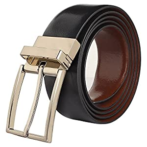 Handmade Genuine Leather Adjustable Belt Gift for Men Teen Boy ~ Everyday Office College School ~ Fashion Causal Formal Dress ~ Black/Brown