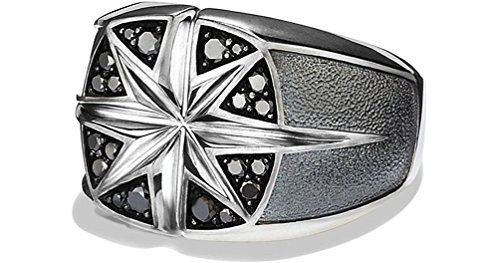 David Yurman Diamond Ring - David Yurman SIGNET WIDE NORTH STAR RING ST.SILVER & BLACK DIAMOND 8R size 9