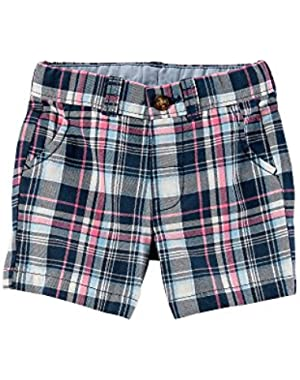 Carter's Baby Boys' Plaid Flat Front Shorts