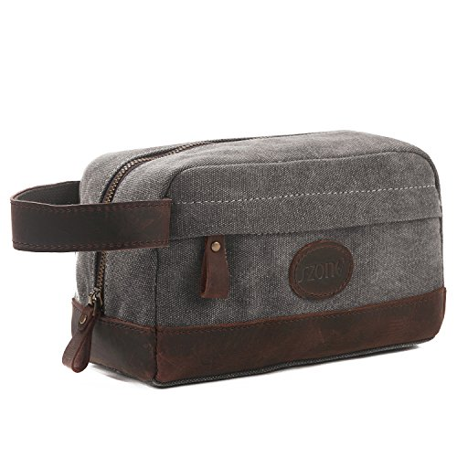 Paste Case (S-ZONE Vintage Leather Trim Canvas Toiletry Bag Shaving Dopp Case Cosmetic Makeup Bag)