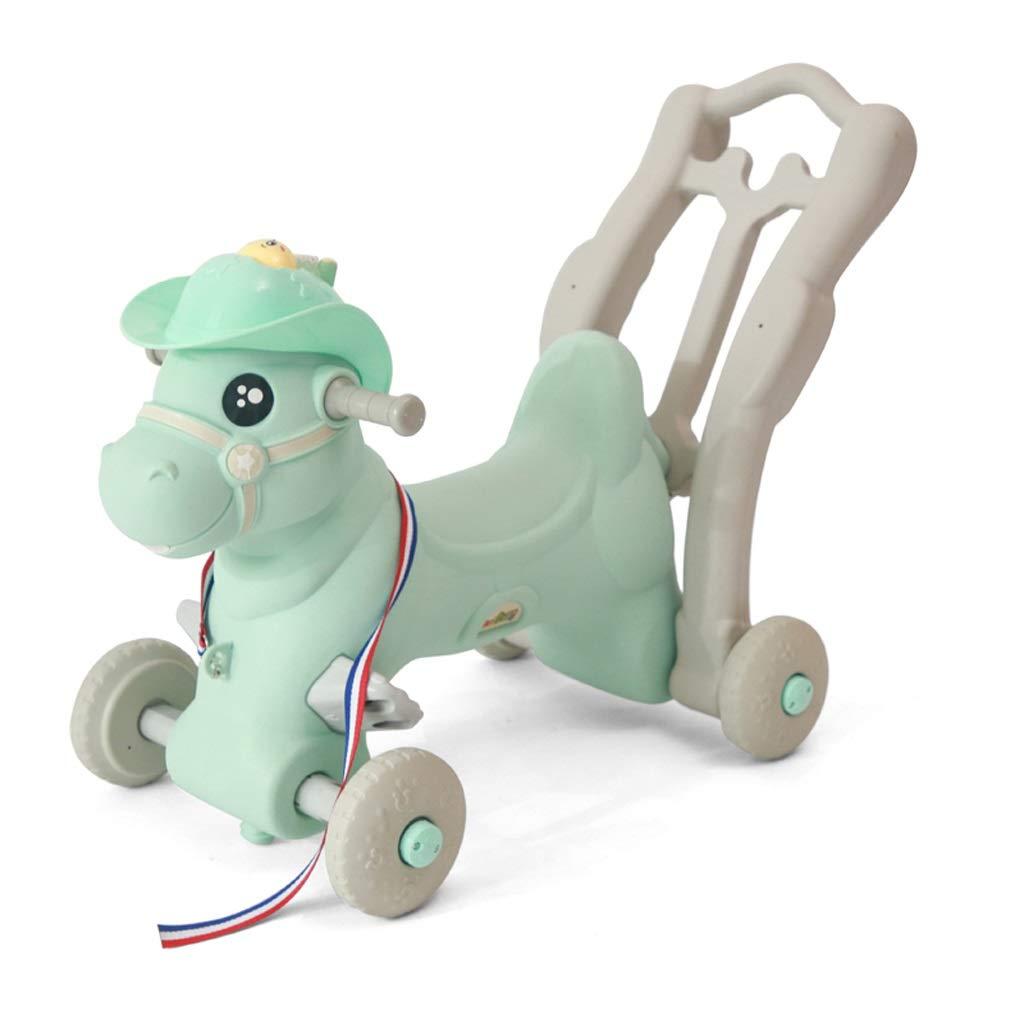 ロッキングホース ZJING 子供用 スライド式木製馬 音楽付き 大型 2種類の使い方 赤ちゃん用おもちゃ 1-2-3歳 赤ちゃん 小型 木製 馬 グリーン  グリーン B07QQNCM7Z