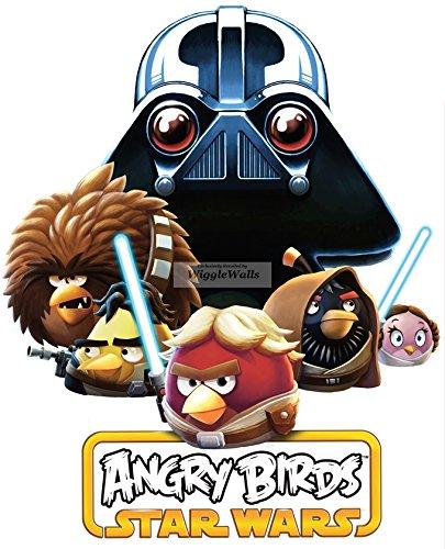 11 Inches Death Star Lard Vader Terrance Luke Han Obi-Wan Leia Angry Birds Star Wars Removable Peel Self Stick Adhesive Vinyl Decorative Wall Decal Sticker Art Kids Room Home Decor Girl Boy 9x11 Inch ()