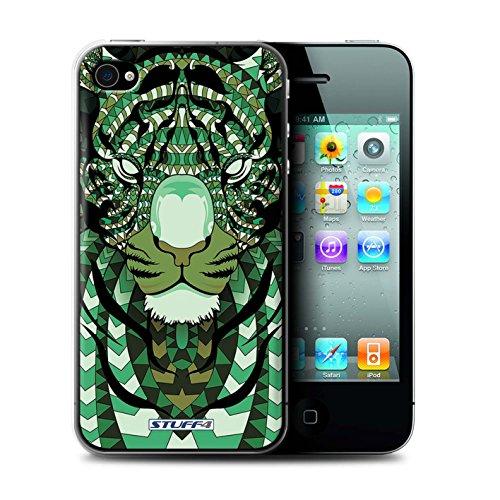 Coque de Stuff4 / Coque pour Apple iPhone 4/4S / Tigre-Vert Design / Motif Animaux Aztec Collection