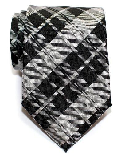 Retreez Modern Best Tartan Plaid Check Styles Woven Microfiber Men's Tie - Black and Grey
