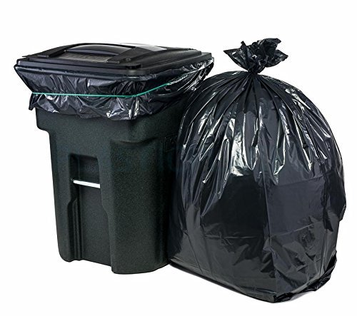Plasticplace 95-96 Gallon Garbage Can Liners Heavy Duty Trash Bags, 1.5 Mil, Black, 61
