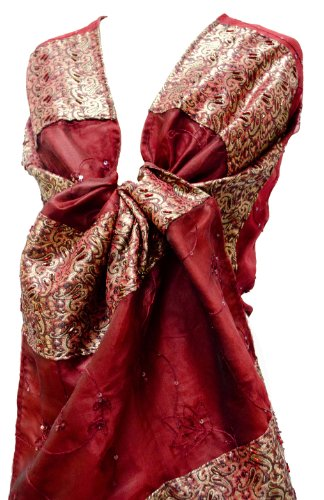Beaded Emb Brocade Silk Organza Stole Wrap Shawl Table Runner Fringe Red Gold by Steel Paisley