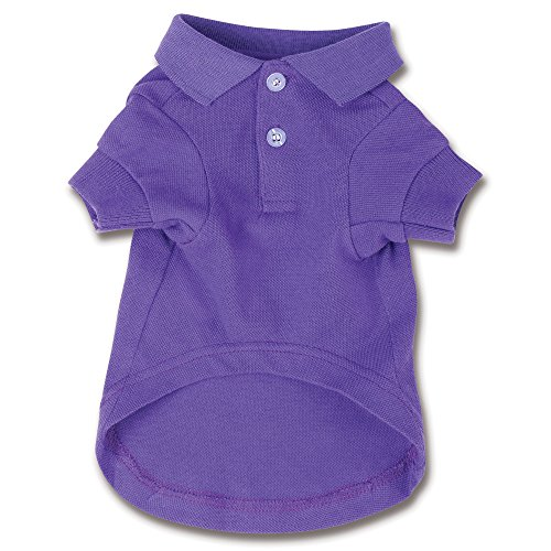 Zack & Zoey Cotton Polo Shirt for Dogs, 16' Medium, Ultra Violet