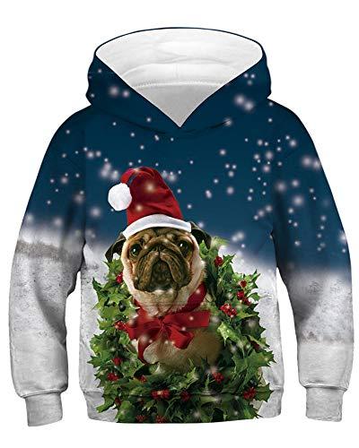Felpa Fille Christmas Pug cappuccio Amoma con Uq07ZZ
