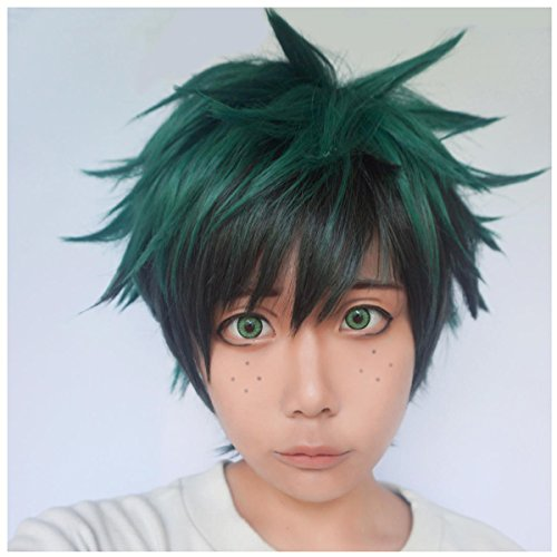 Boku No Hero Academia Deku Costume (ColorGround Short Fluffy Layered Anime Cosplay Wig (Green / Black))