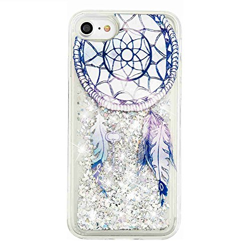 Urberry Iphone 7 Case,Running Glitter Cover, Sparkle Love Heart, Creative Design Flowing Liquid Floating Luxury Bling Glitter Sparkle Hard Case for 4.7 inch iPhone 7 with a Screen Protector (F)