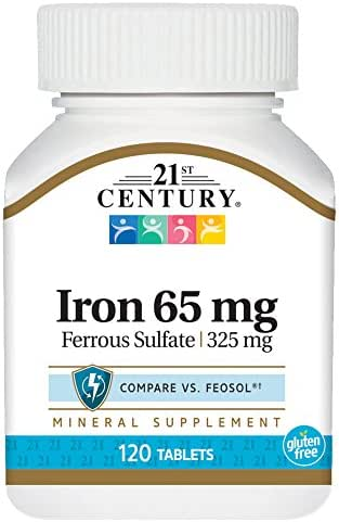 21st Century Iron 65 Mg Ferrous Sulfate 325 Mg Tablets, 120 Count (Pack of 2)