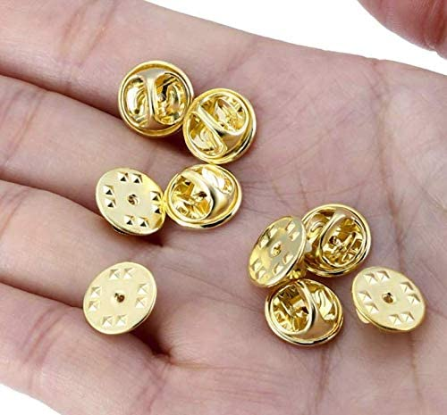 Gold LASSUM 50 Pieces Butterfly Clutch Pin Backs Replacement Tie Tack Lapel Pin Backing Holder Clasp