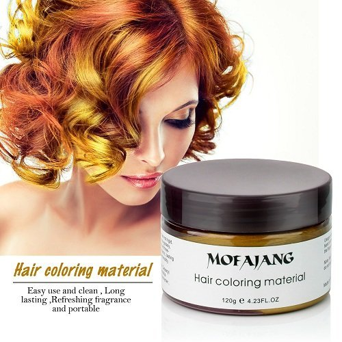 Instant Gold Hair Color Wax, Efly MOFAJANG Temporary Hairstyle Cream 4.23 oz Hair Pomades Hairstyle Wax for Men and Women (gold)
