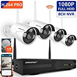 [8CH Expandable] 1080P Security Camera System Wireless,SMONET 8CH H.264 PRO Wireless Surveillance System(1TB Hard Drive) with 4pcs 2.0MP Security Cameras,P2P Home Security Camera System