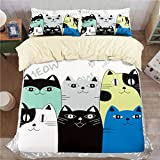HIGOGOGO Home Textiles 100% Cotton Unique Cat Bedding Duvet Cover Super Soft Different Design Twin Full Queen Size 5 Piece Duvet Cover Set (Queen)