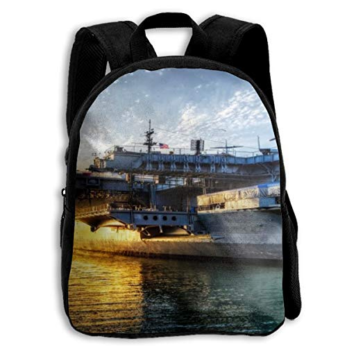 Aircraft Carriers USS Midway Sunset Seascape School Backpack Knapsack Cool Daypack Children Backpacks For Kids Boys Girls
