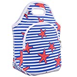 Lunch Bag for Women Girls 3HEH3 fashion Insulated Neoprene Reusable Soft Portable Lunch Tote Outside Pocket for Work School Outdoor Travel Shopping Starfish