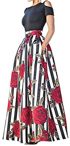 Satin Floral Skirt Suit (Aro Lora Women's African Floral Print Cold Shoulder Two Piece High Waist Dress Suits XL)