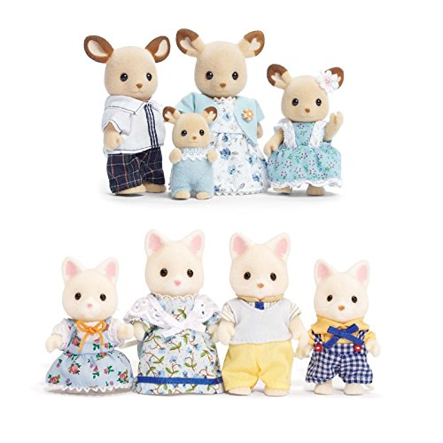 Calico Critters Familiy Set Featuring Buckley Deer Family & Silk Cat Family