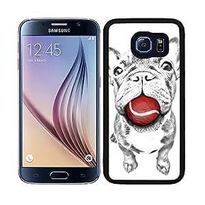 Funda carcasa para Samsung Galaxy S6 diseño perro bulldog con pelota roja borde negro