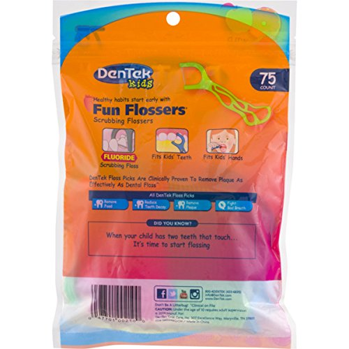 Dentek Kids Fun Flossers with Advanced Fluoride Coating | Removes Food & Plaque | Wild Fruit Flavored Floss Picks | 75 Count | Pack of 6 by DenTek (Image #1)