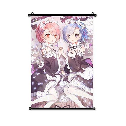 TOMORI Re-Zero kara Hajimeru Isekai Seikatsu Anime Fabric Scroll Poster 60X90CM Rem Ram Emilia (#2)