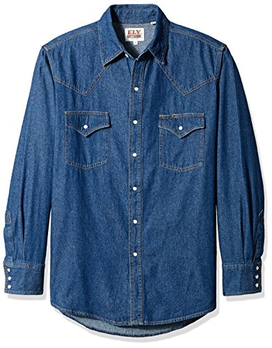 - Ely & Walker Men's Long Sleeve Denim Western Shirt, Large