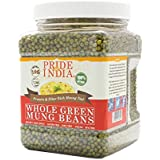 Pride Of India - Indian Whole Green Mung Gram - Protein & Fiber Rich Mung Bean Whole, 3.3 Pound (1.5 Kilo) Jar (3 Pound + 10%