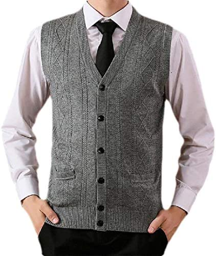 Jotebriyo Men Loose Casual V Pocket Wool Lightweight Neck Waistcoat Knitted Sweater Vest
