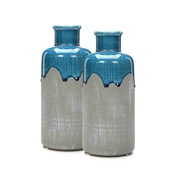 """Hosley Set of 2 Large Ceramic Floral Vases - 9"""" High. Great for Wedding, Nautical Organic Party Votive Candle Gardens O6 - PRODUCT: Hosley's 9"""" High Ceramic Vases USES: Designed to be used as a decor accent, they work great with artificial flowers.If using with fresh flowers, a water tight liner must be used. BENEFITS: These vases are great for adding a decorative accent to your room's decor. They also make great gifts for a wedding, house warming and can be used for party, reiki, and spa. - vases, kitchen-dining-room-decor, kitchen-dining-room - 515Xu2HkwjL. SS570  -"""